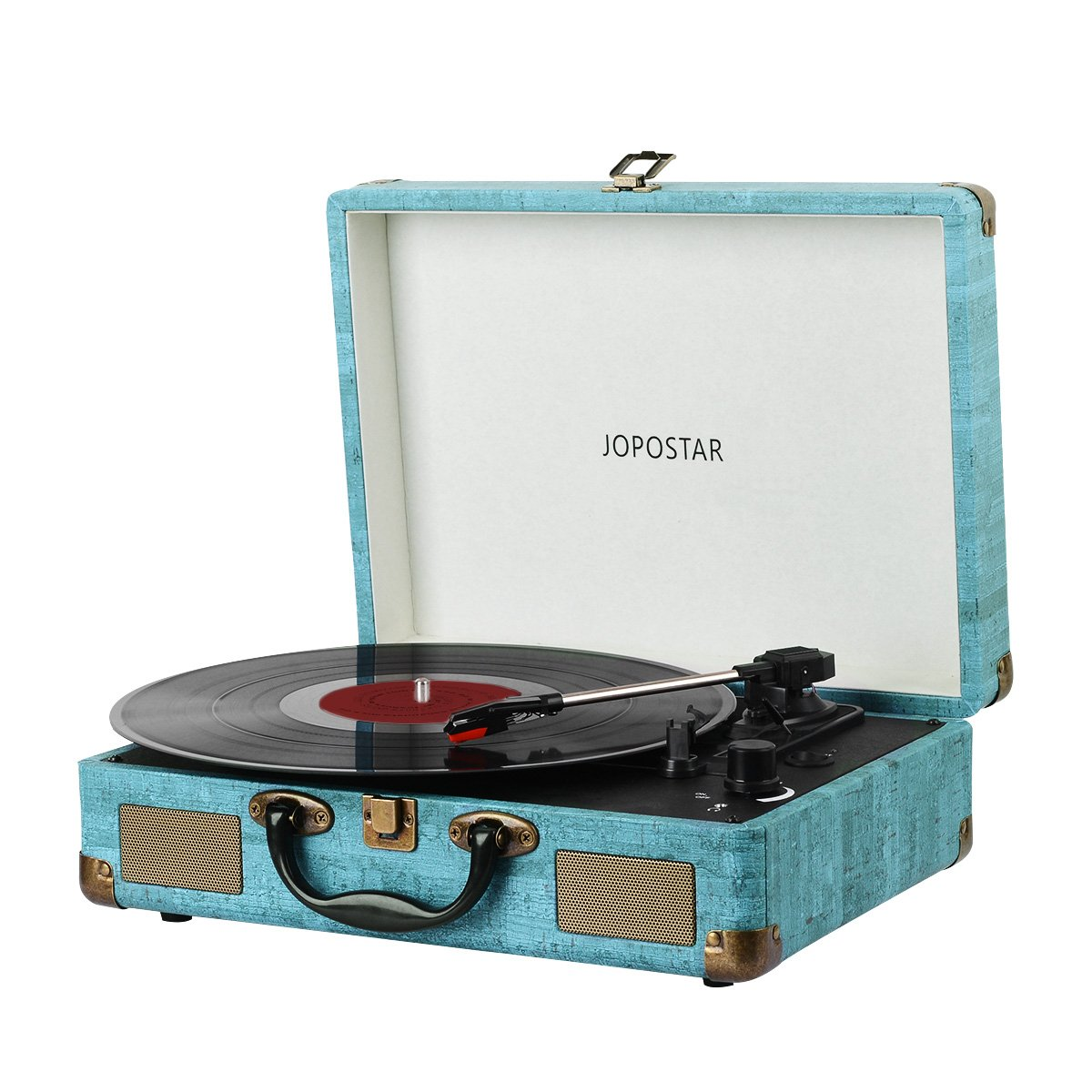 Bluetooth Record Player ,JOPOSTAR Suitcase Portable 3-Speed Belt-Driven Turntable Player Built-in Speakers , Headphone Jack , Aux Input by JOPOSTAR