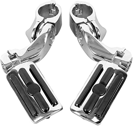 Harley Touring Softail Dyna Sportster and so on TCMT Black 1.25 3.2cm Adjustable Highway Foot Pegs Footpeg Footrest For Harley all models with 1-1//4 Engine Guards