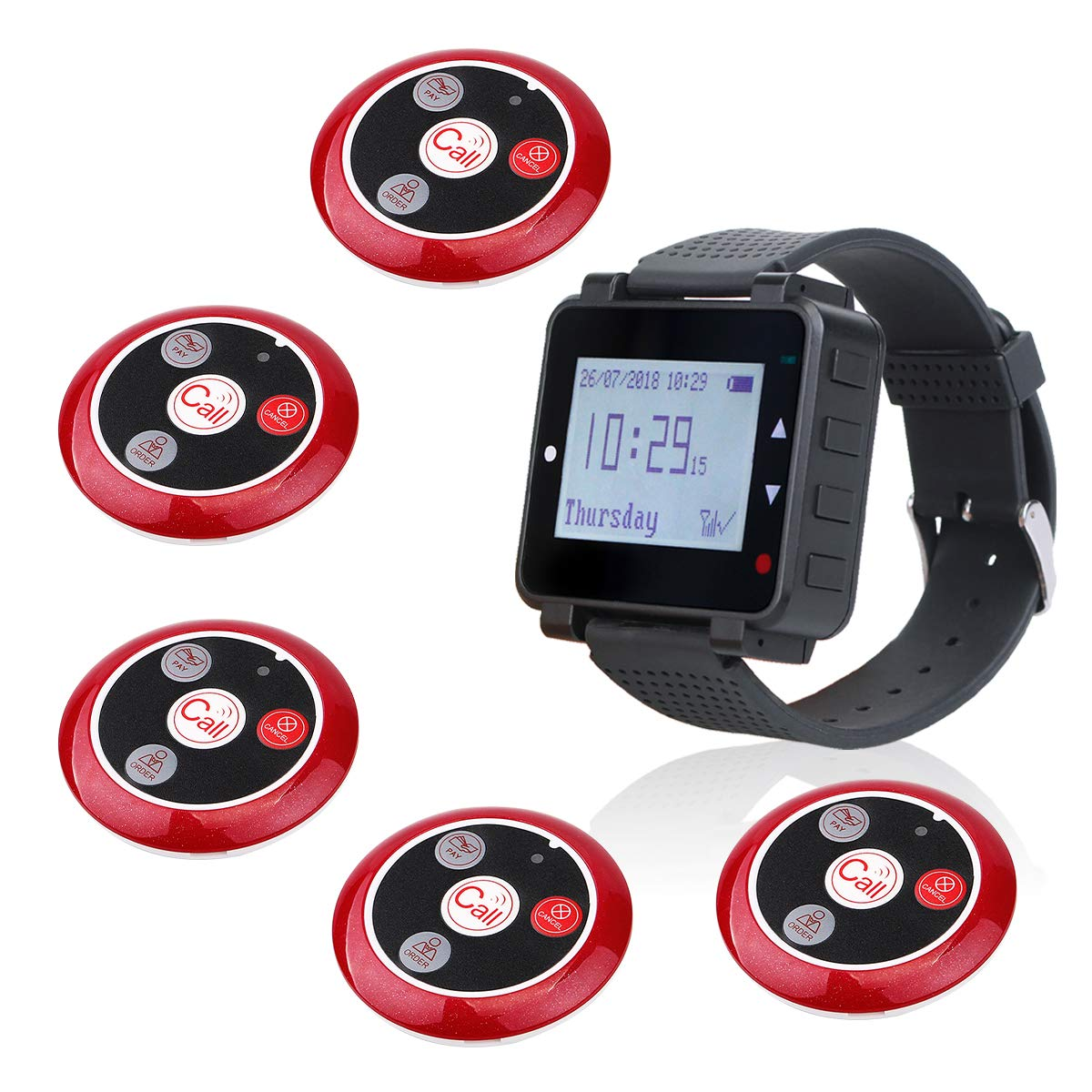 Retekess T128 Restaurant Pager System 5 Pager 1 Wrist Watch User-defined A-Z Letter Area Type Set 40 Selectable Key Function Caregiver Call Button System Pager with Service Multi-function for Hospital