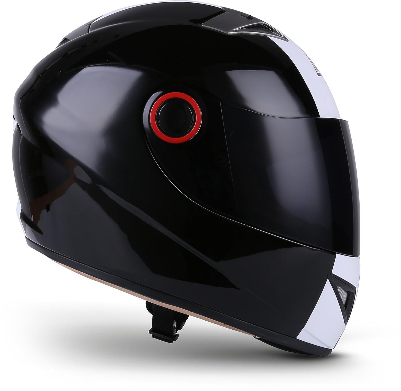 SOXON ST-666 Deluxe Snow /· Scooter Cruiser Urbano Urban Fullface-Helmet Casco Integrale Moto motocicleta Sport /· ECE certificado /· incluyendo parasol /· incluyendo bolsa de casco /· Negro /· XL 61-62cm