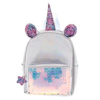 c51c1b4488d8 Amazon.com  Claire s Girl s Unicorn Reversible Sequin Mini Backpack - Silver  - S  Claire s  Clothing