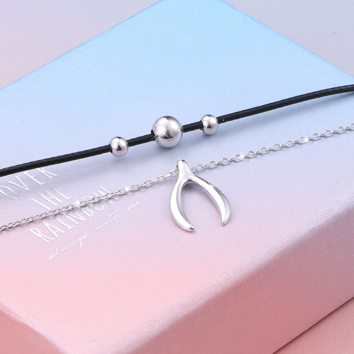 925 Sterling Silver Good Luck Wishbone Bead Charm Choker Necklace Gift for Women by LINLIN FINE JEWELRY (Image #5)