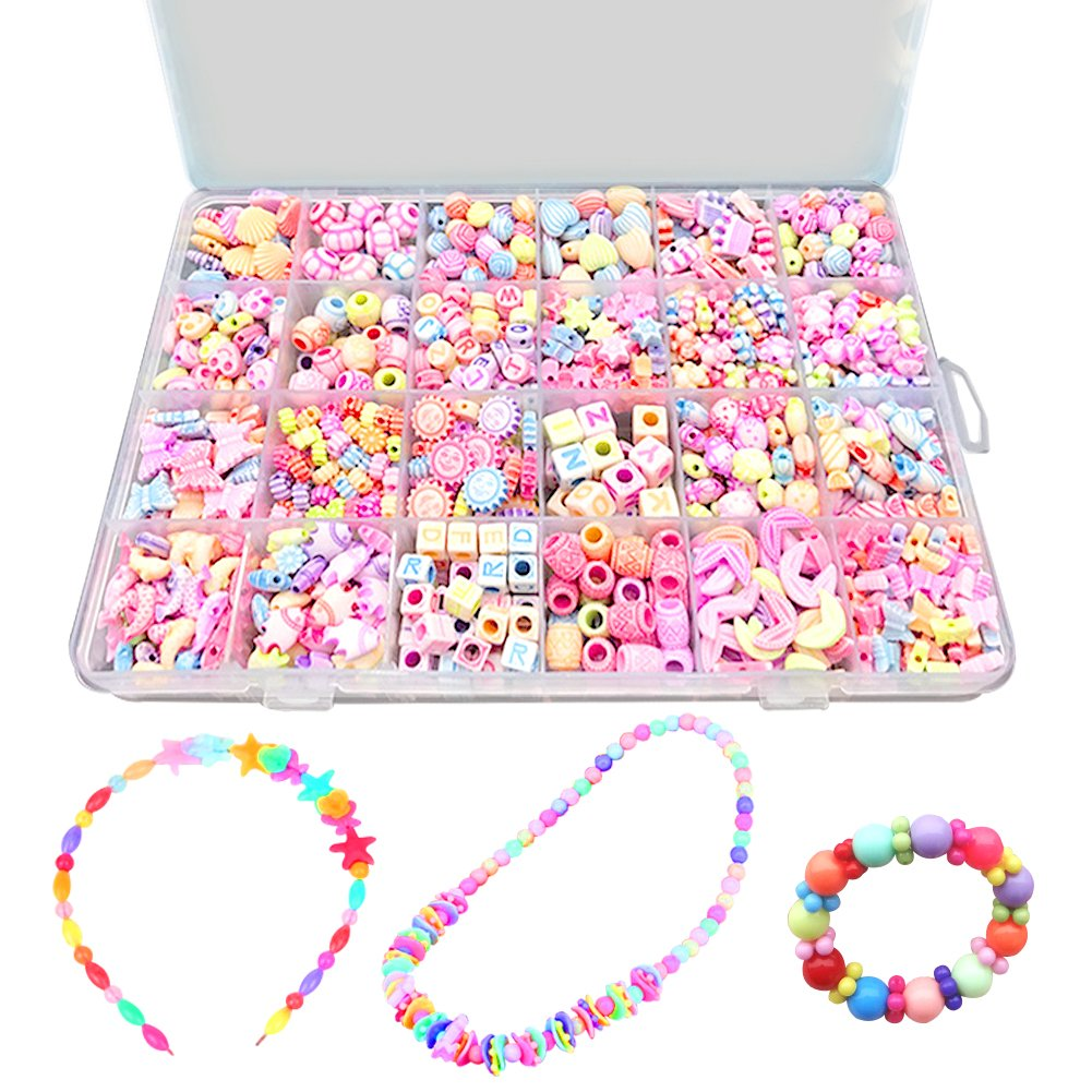 Bead KidsSet for Jewelery Making - Craft Beads Kits for Little Girls DIY Necklaces Bracelet Children Games Colorful Acrylic Handmade Beaded Set Accessories Gift for Kids(color4), HUATK
