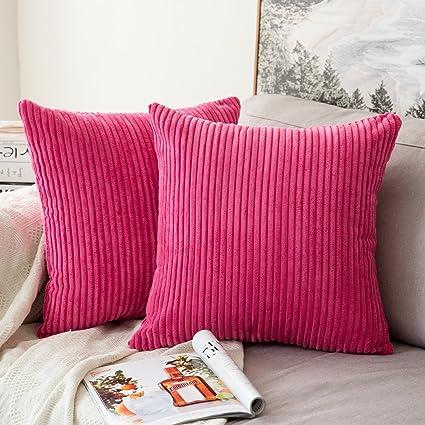 MIULEE Lot de 2 Decorative Housse de Coussin en Velours Côtelé Canapé Taie  d\'oreiller Douce pour Maison Salon Chambre Lit Clic Clac 45x45cm Fushia
