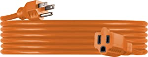 UltraPro, Orange, GE 25 Foot Extension, Heavy Duty, 16AWG, Indoor/Outdoor Use, Extra Long Power Cord, UL Listed, 51924, ft