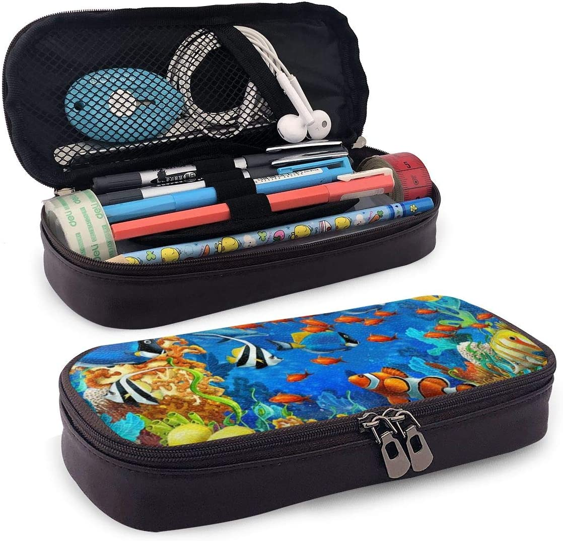 Dolphin Sea Seabed Fish Corals Underwater Ocean Leather Pencil Case for School Students Office Pen Pencils Box