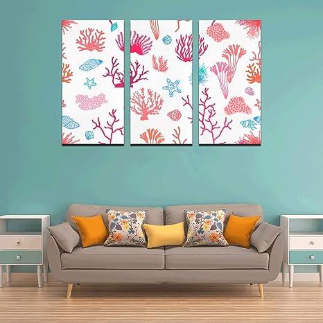 Amazon Com Xuyonh 3 Panel Art Wall Decor For Kitchen Bright Color Coral Ocean Life Home Decorations Paints Walls Living Room Bedroom Bathroom