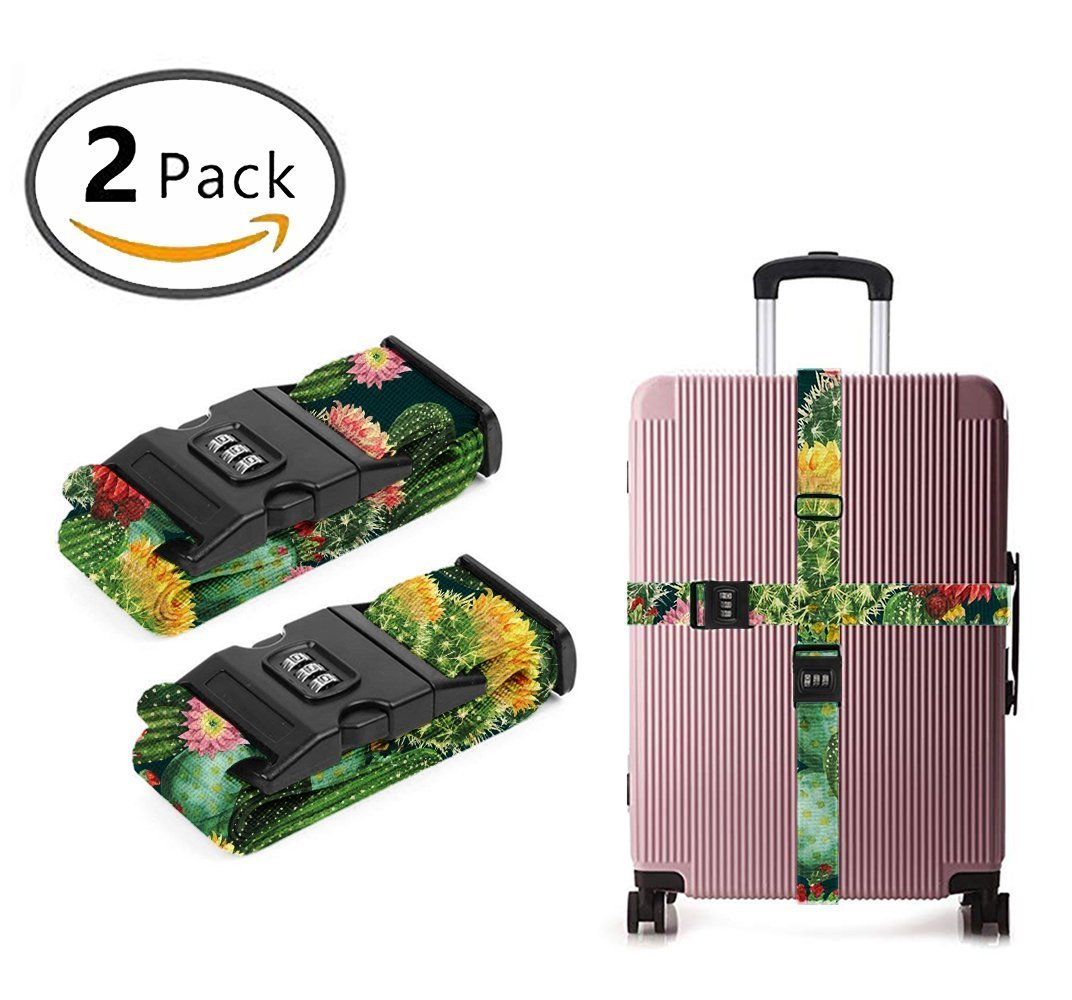 SWEET TANG Add A Bag Luggage Straps, Suitcase Belt Cactus Floral Bloom Flower Summer Tropical Travel Accessories 2-Pack