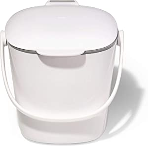 NEW OXO Good Grips Easy-Clean Compost Bin, White - 0.75 GAL/2.83 L