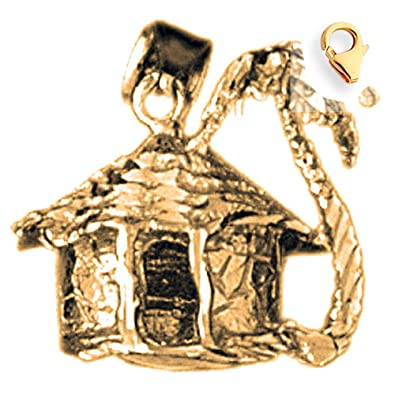 Amazon Com 14k Yellow Gold 3d Palm Tree And Hut Charm 17mm Jewelry