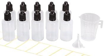 10x Diy Leer : 10x tropfflasche 50ml mit gratis trichter messbecher und etiketten