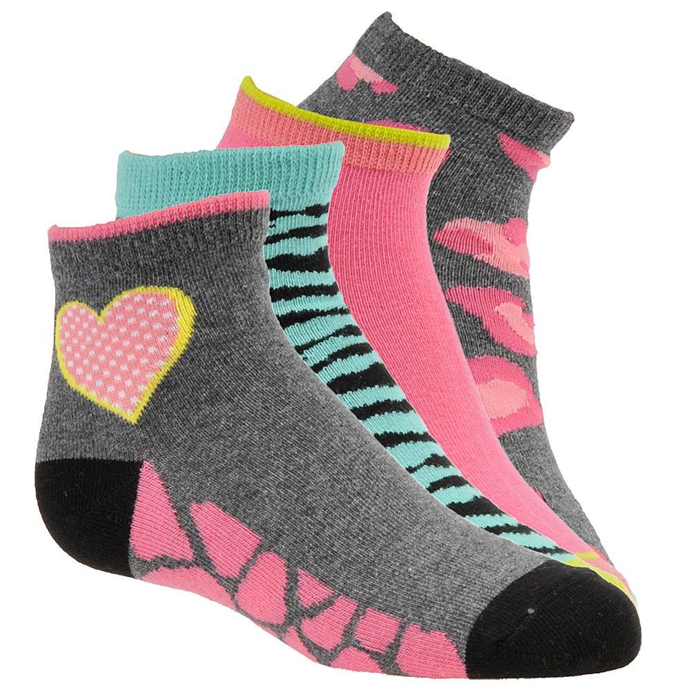 Stride Rite Toddler//Little Girls 4-Pairs Frances Fierce Charcoal Quarter Socks
