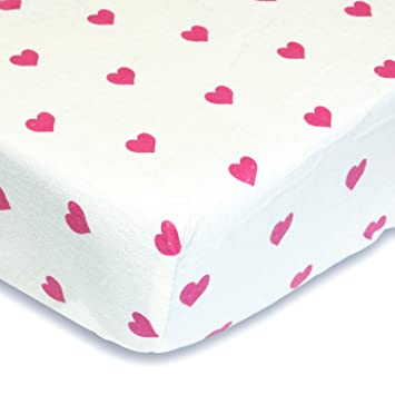 Bright Pink Hearts 100% Cotton Flannel Fitted Crib Sheet   Soft Nursery  Bedding For Girls
