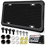 Aootf Silicone License Plate Frame - 1 Pack Black License Plate Frame,Front & Rear Cover Slim Holder with Screws, Black…