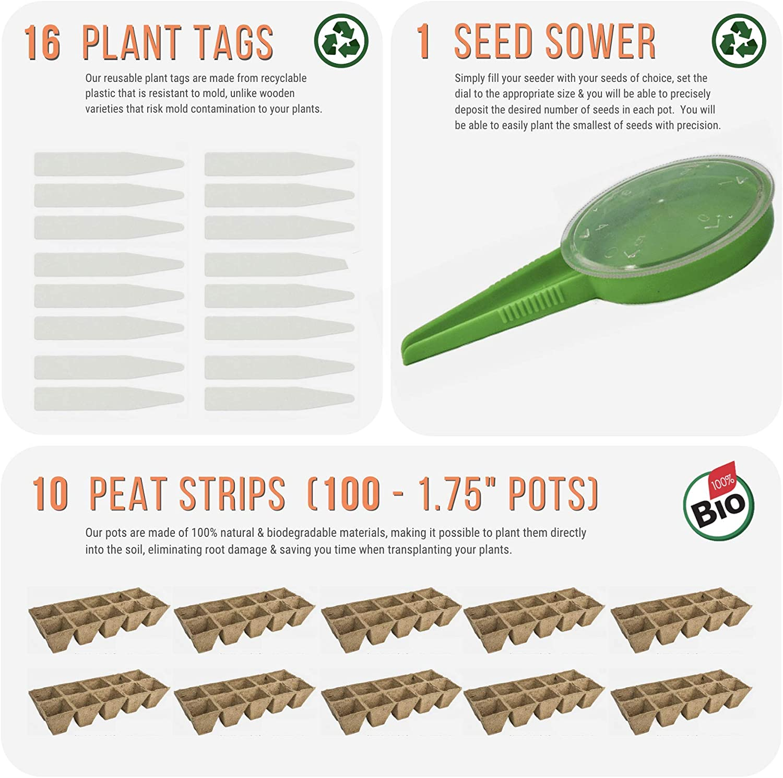 Paquete de 10 bandejas para plantas, 100 células, dispensador de ...