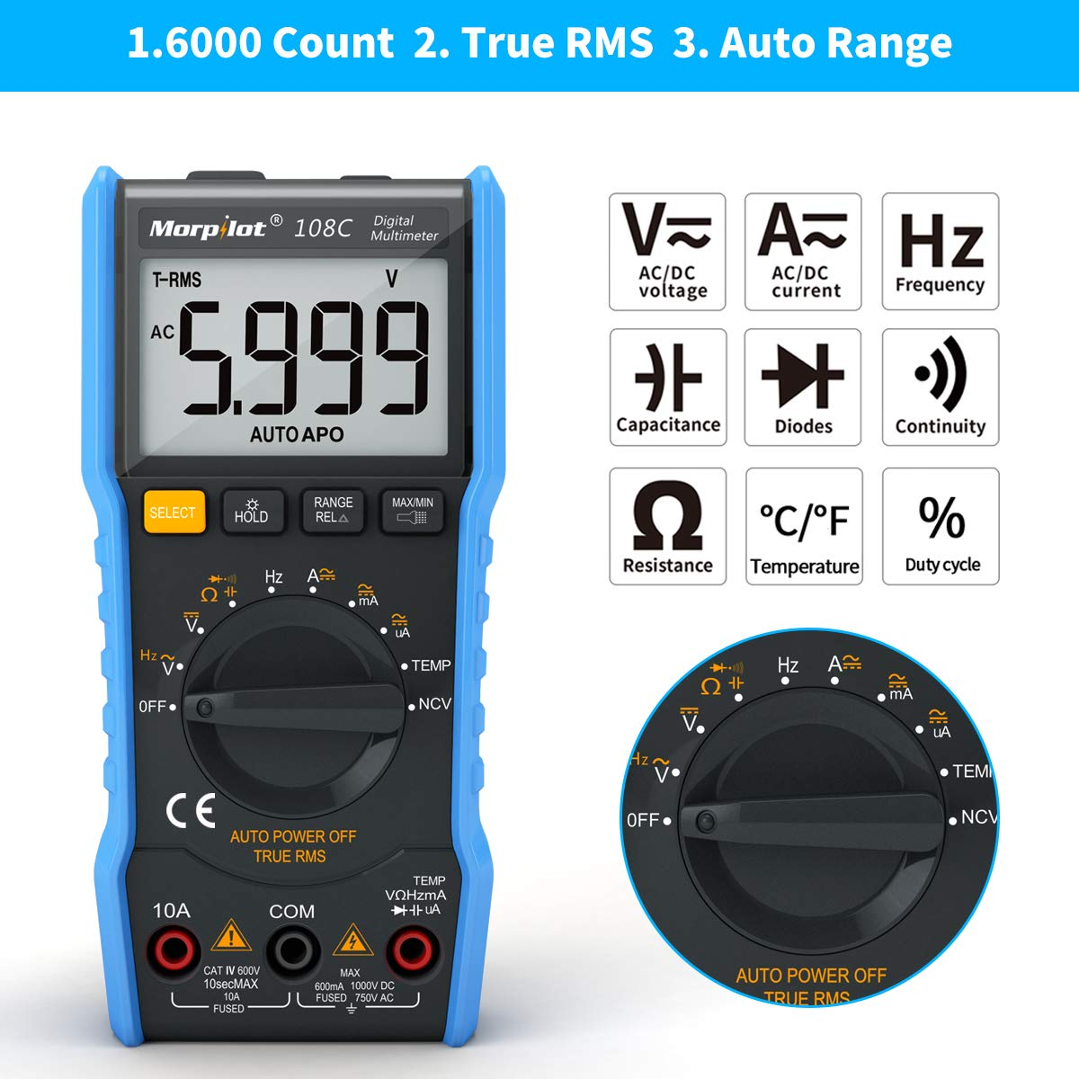 Keenstone Digital Multimeter,TRMS 6000 Counts Manual and Auto Ranging;Pocket Size Flashlight Measures Voltage Tester,Current,Resistance,Continuity,Frequency;Tests Diodes,Transistors,Temperature