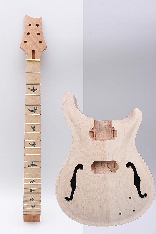 1 juego de guitarra de cuello de guitarra 22 trastes sin terminar cuerpo de guitarra semi hueco de madera de caoba de arce diapasón DIY guitarra
