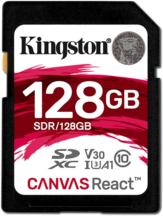 Kingston SDR/128GB Tarjeta Sd Canvas React de 128 Gb, 128 gb, Negro