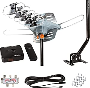 FiveStar HDTV Antenna Digital Outdoor Antenna -150 Miles Range-360 Degree Rotation Wireless Remote-Snap-On Installation Support 5 TVs, with Installation kit and Mounting Pole