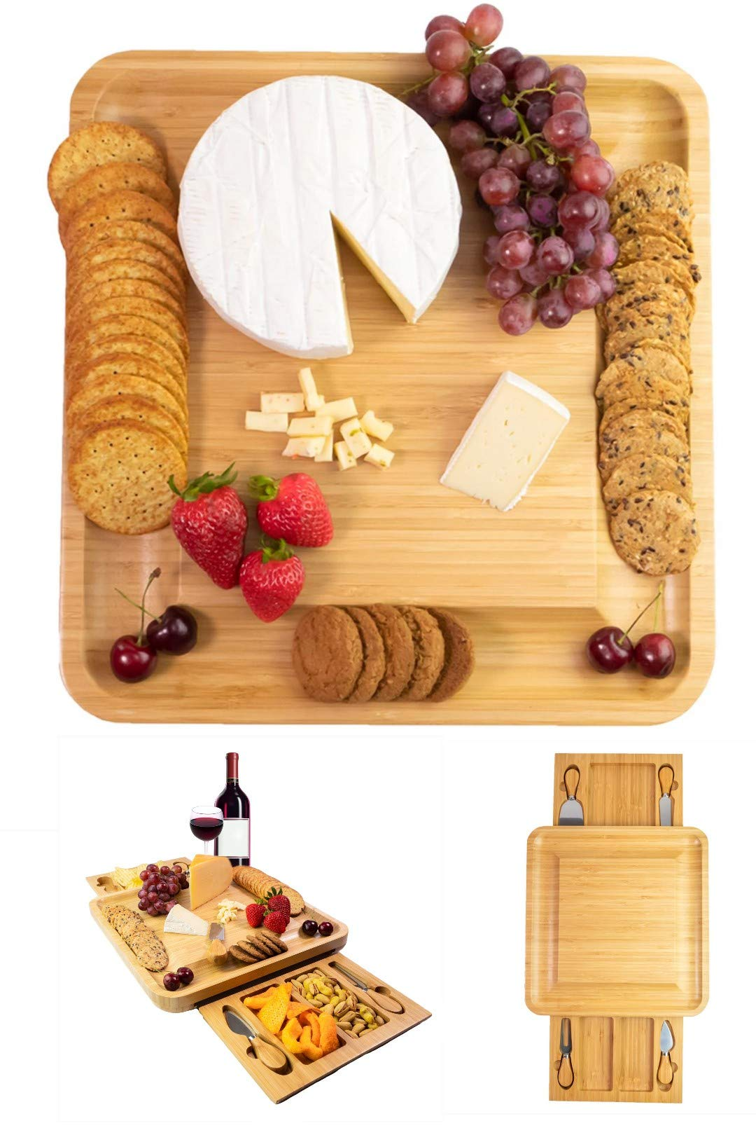 Premium Cheese Board Set - Two Hidden Drawers, 4 Stainless Steel Cutlery Set, Bamboo Charcuterie Board - Large Serving Tray - Cheese Board and Knife Set - Perfect Gift For House Warming - Christmas by Fancy Kitch Inc.