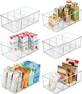 mDesign Plastic Food Storage Organizer Bin Box - 4 Divided Sections - Holder for Seasoning Packets, Pouches, Soups, Spices, Snacks for Kitchen, Pantry, Cabinet, Refrigerator - 6 Pack - Clear