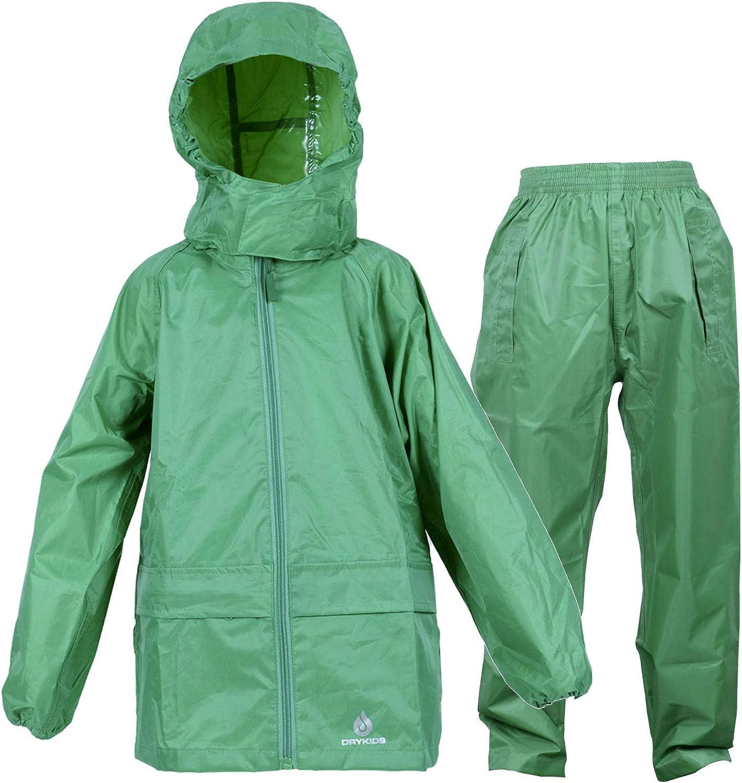 Dry Kids Costume imperm/éable Comprend Une Veste et Un Surpantalon imperm/éable Compressible pour gar/çons et Filles