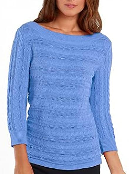 Chaps Womens Cable Knit Lightweight Sweater Blue (Large) at Amazon ...