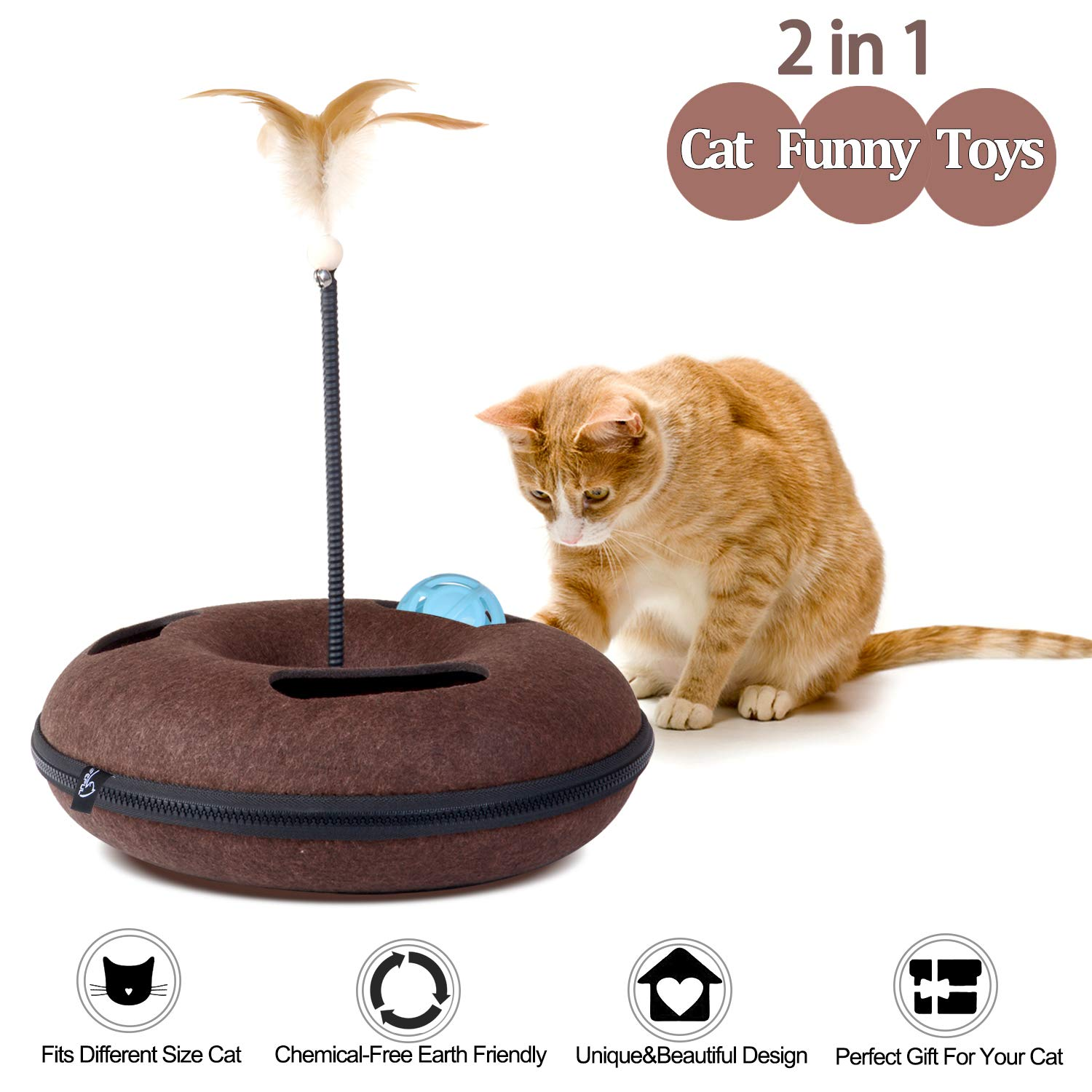Lifepul Felt Interactive Cat Toys, 2 in 1 Kitten Feather Toys & Ball Rotating Track - Spring Feather Captive Funny Cat Teaser Hide and S, Treack Toy, Puzzle Box for Multiple Cats