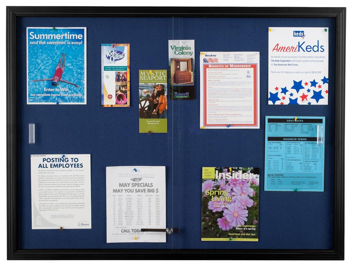 Displays2go Locking Enclosed Bulletin Board, 48 x 36 Inches, Glass Doors, Blue Fabric (FBSD43BKBL)