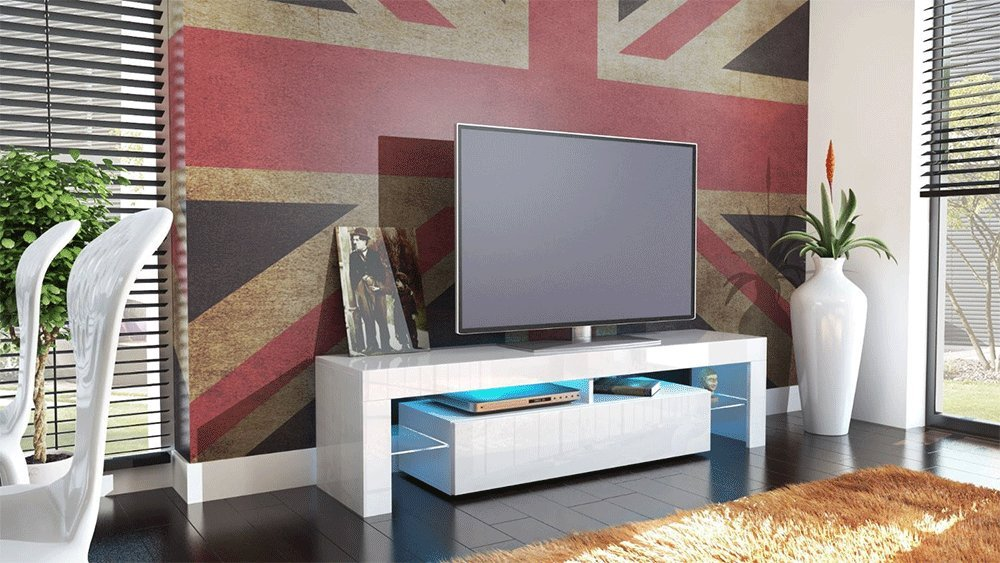 Kofkever Cesare 1104 Porta Tv Bianco/Bianco Lucido Brillante mobile ...