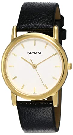 Sonata Analog White Dial Men S Watch Nj7987yl02w