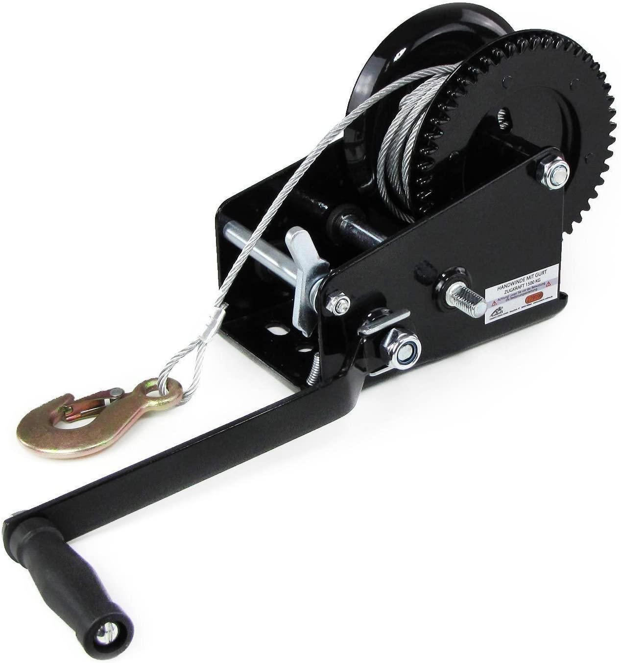 OUBAYLEW 1 x Professional Winch Hand Winch with Wire Rope 10 m and up to 1500 kg