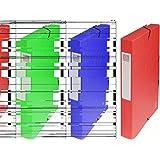 Exacompta - Réf. 50405E - Boite de classement à élastiques Exabox - Dos 40mm - Format 25x33cm pour documents A4 - Carte lustrée 600g/m² - Rouge
