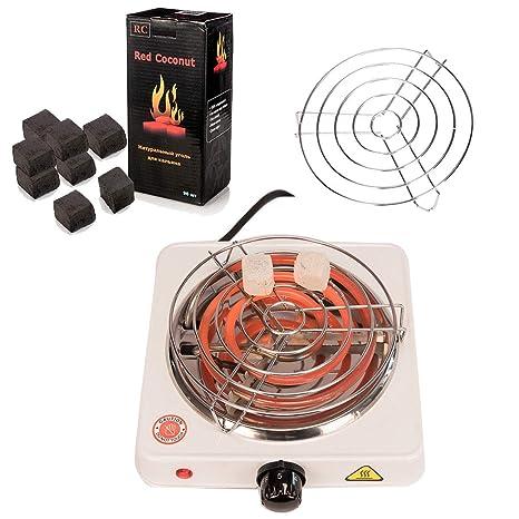 Kertou Horno eléctrico multifunción para Shisha cachimba, Potencia 1000 W, Carbón Shisha y Accesorios
