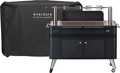 Everdure by Heston Blumenthal HUB 54-Inch Charcoal Grill Cover Bundle With Patented Built-in Rotisserie System Quick Electric Ignition