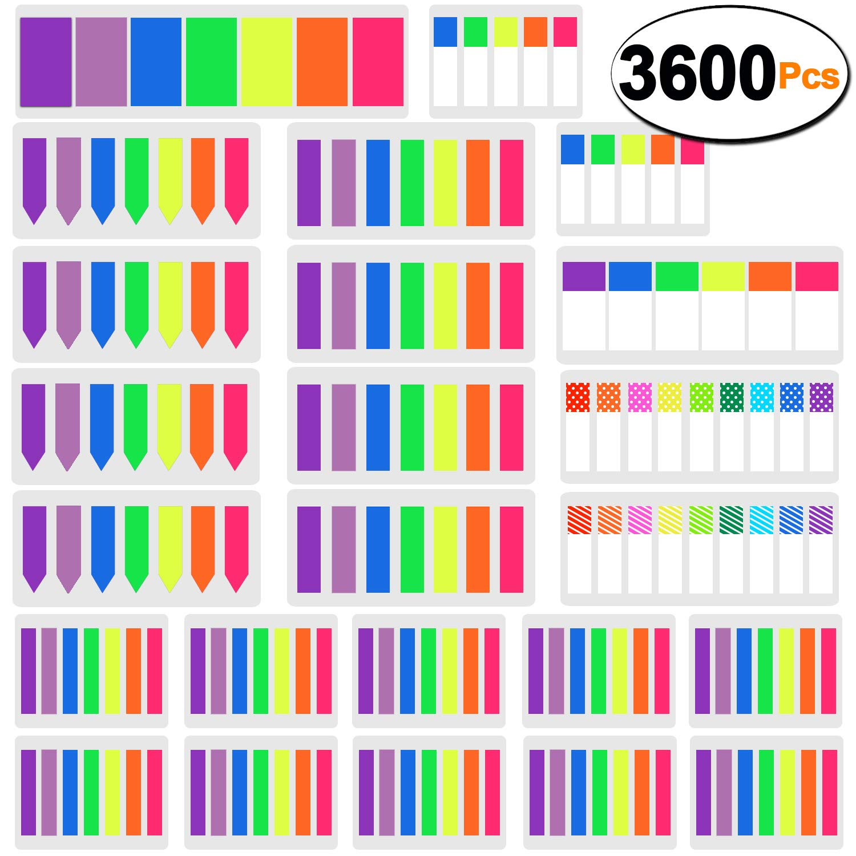 SIQUK 3600 Pezzi Segnapagina Marcatori Pagina Etichette adesive colorate Pagina Marker Flag Polka Dots and Stripes Tab Note Tab Bandiere indice fluorescente Tab, 24 set