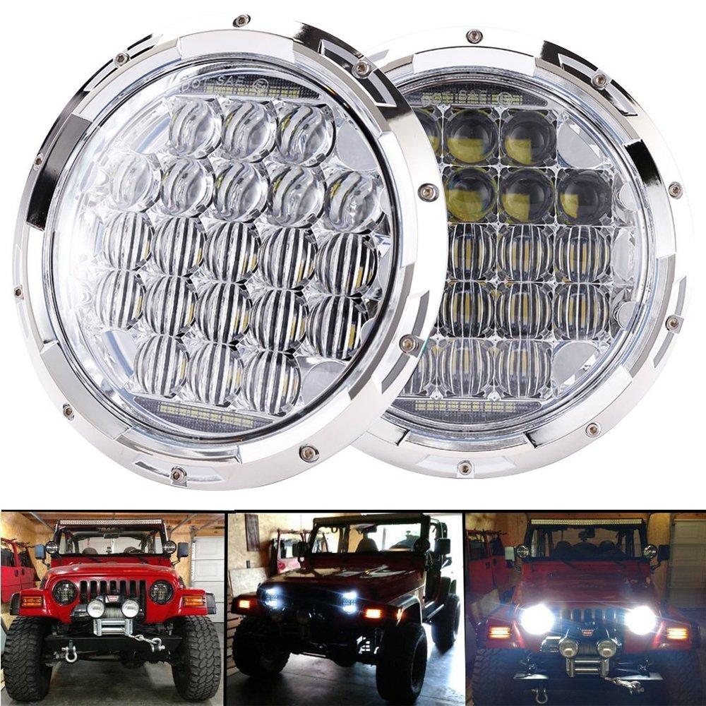 4 Inch Fog Lights Bulbs Set Kit for Jeep Wrangler JK LJ JKU TJ CJ Black COWONE 7inch Cree LED Headlights
