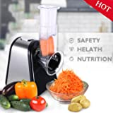 Electric Vegetable Slicer, Professional Electric Slicer/Shredder with One-Touch Control and 4 Free Attachments for Fruits, Vegetables, and Cheeses (Slicer Machine)