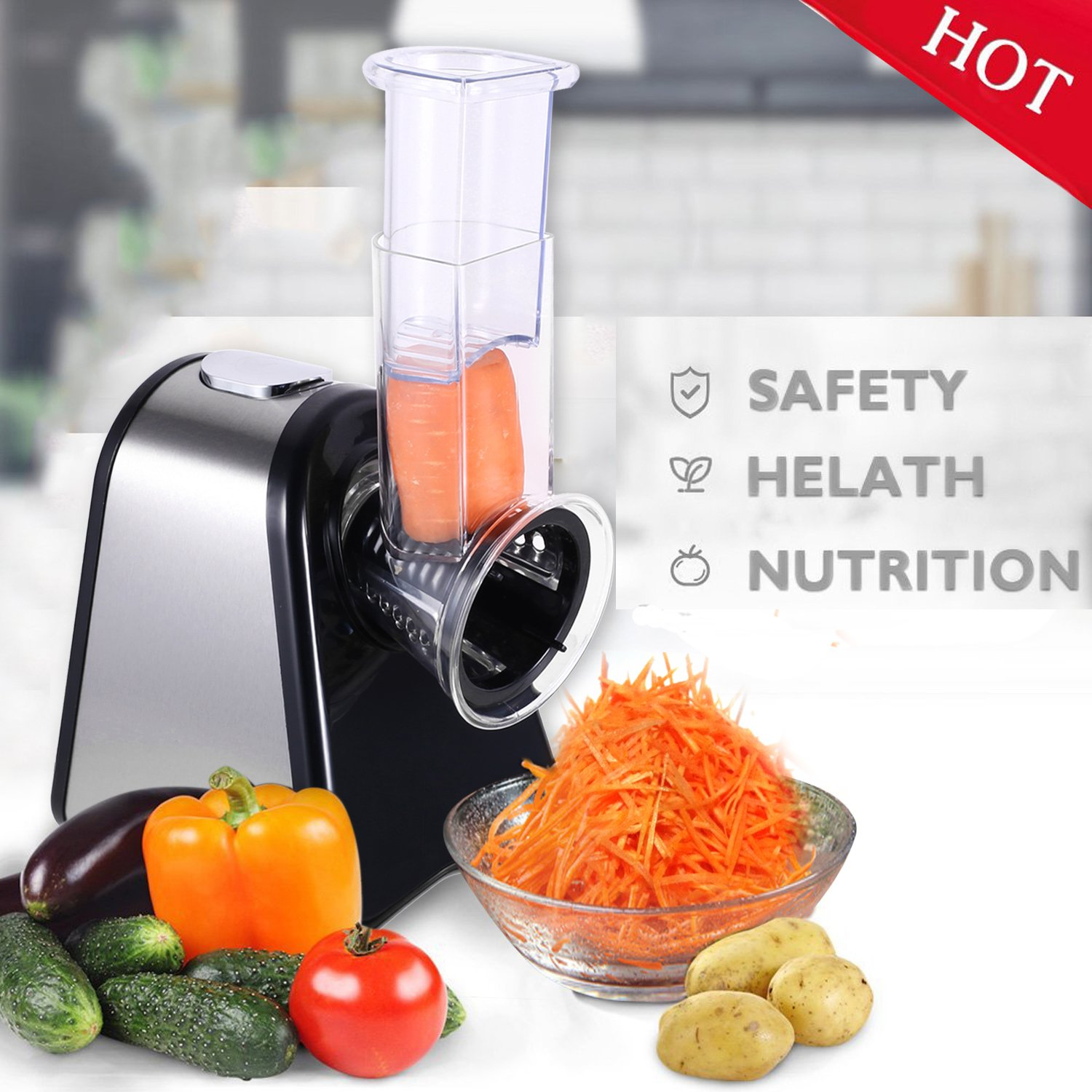 Electric Vegetable Slicer, Professional Electric Slicer/Shredder with One-Touch Control and 5 Free Attachments for Fruits, Vegetables, and Cheeses (Slicer Machine)