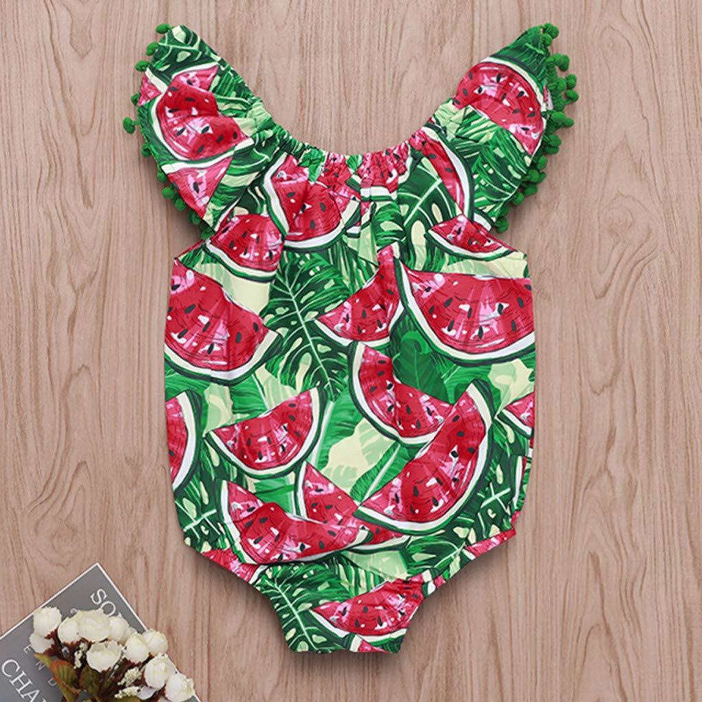 SANGQU Toddler Baby Girl Romper,Watermelon Printed Sleeveless Jumpsuit Bodysuit