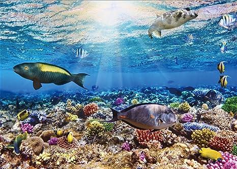 YongFoto 3x2m Undersea World fondo marino acuario 3D fondos para fotografía peces coral azul océano vela
