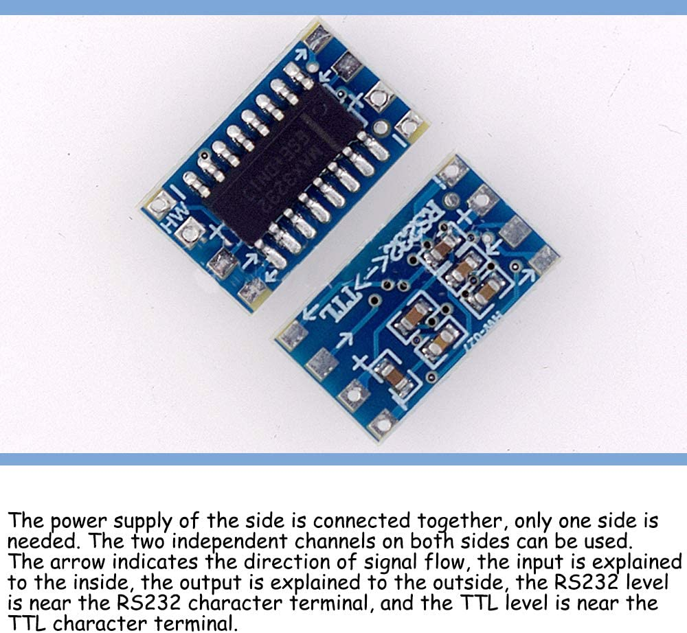 KOOBOOK 5Pcs Mini RS232 to TTL MAX3232 Converter Adaptor Module Board Serial Port Transfer Board 3-5V