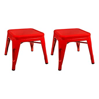 Strange Sprogs Tolix Style Square Metal Stool 12 H Red Spg Xuw1067Rd So Pack Of 2 Lamtechconsult Wood Chair Design Ideas Lamtechconsultcom