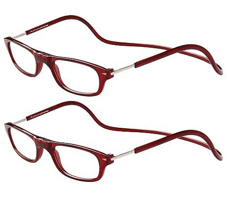 TBOC Pack: Gafas de Lectura Presbicia Vista Cansada – (Dos Unidades) Graduadas +2.50 Dioptrías Montura Burdeos Hombre Mujer Imantadas Plegables Lentes ...