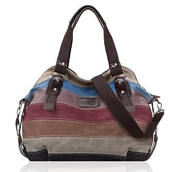4b4e6d4da LOSMILE Multicolor rayas la lona de los totalizadores del bolso de las  mujeres Hobos y bolsos de hombro.: Amazon.es: Equipaje