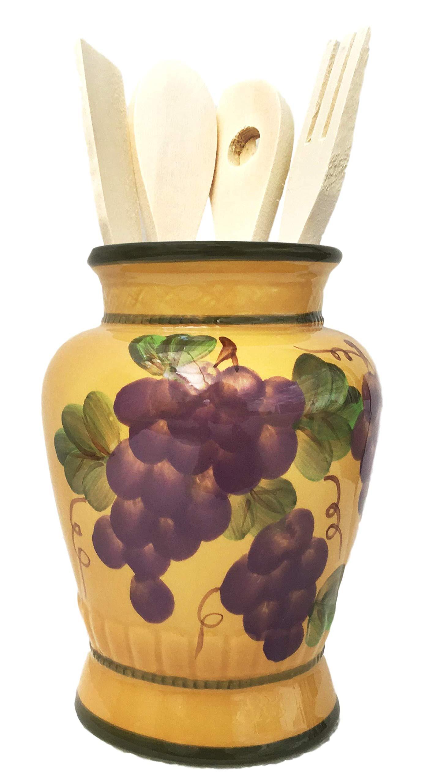 CASAVERO Kitchen Utensil Holder with Tools Grape Tuscany Decor
