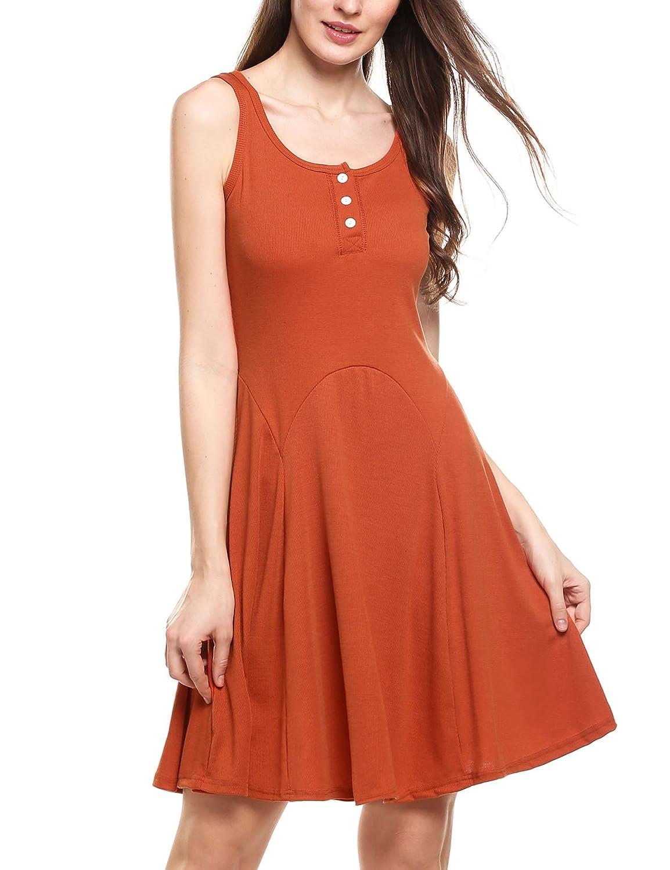 Zeagoo Damen Kleider Asymetrisch Ärmelloses Beiläufiges Strandkleid Sommerkleid Tank Kleid Ausgestelltes Trägerkleid Knielang