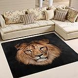ALAZA Hipster Lion Head Black Area Rug Rugs for Living Room Bedroom 7' x 5'