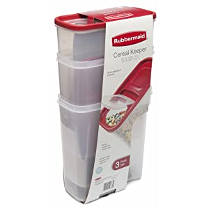 Rubbermaid Flip Top Cereal Keeper, Modular Food Storage Container, 3 Pack, (2) 22-Cup (1) 18-Cup