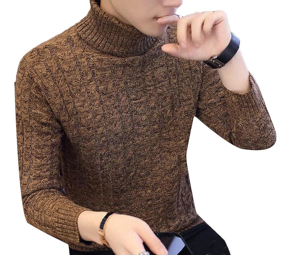 Qiangjinjiu Men Casual Slim Fit Pullover Sweaters Knitted Turtleneck Long Sleeve Blouse